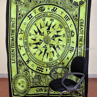 Beautiful Horoscope Tapestry Indian Astrology Tapestry Hippie Green Tapestry Indian Zodiac Wall Decor Bed Cover Bed Sheet Decorative Art
