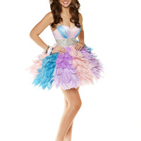 Pastel Gathered Tulle Rhinestone Empire Waist Short Homecoming Dress - Unique Vintage - Cocktail, Pinup, Holiday & Prom Dresses.