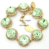 Mint Green Swarovski Rhinestone bracelet, bridesmaids,Bridal jewelry - 18k gold filled and gold plated  Swarovski Bracelet.