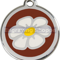 Brown Daisy Enamel and Stainless Steel Personalized Custom Pet Tag with LIFETIME GUARANTEE ID Tag Dog Tags and Cat Tags Free Engraving