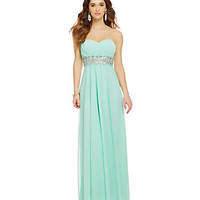 Sequin Hearts Strapless Ruched Crossed Bodice Gown | Dillard's Mobile