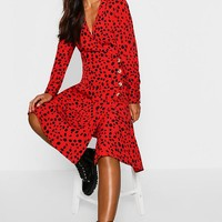 Petite Red Dalmatian Print Button Midi Dress | Boohoo