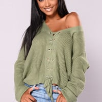 Elara Lace Up Cardigan - Kale