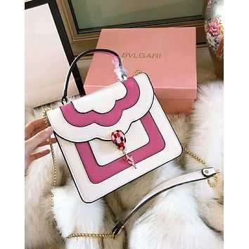 BVLGARI 2018 new chain color matching snake head handbag shoulder diagonal package White