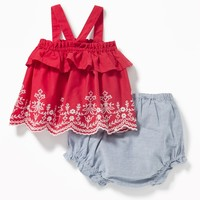 Embroidered Ruffle Tank & Oxford Bloomers Set for Baby|old-navy