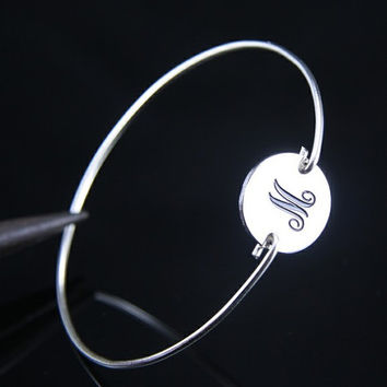 Monogram Silver   Bracelet ,Name Charm Bangle,Silver Jewelry ,Monogram Braclet (initial M)