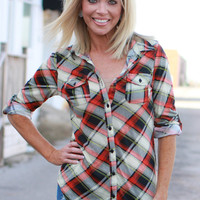 Mad About Plaid Print Tunic With Roll Tab Sleeves ~ Orange ~ Sizes 4-12