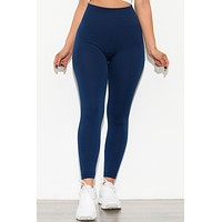 New Limits High Waisted Fleece Lined  Leggings Navy