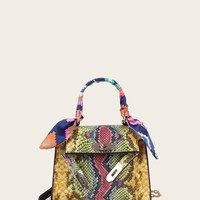 Animal Scarf Print Satchel Bag