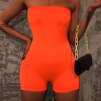 2020 spring and  summer sexy sports wear jumpsuit leisure romper orange
