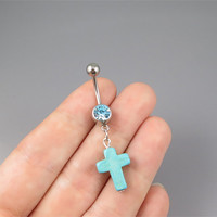 Tiny Cross belly button jewelry ring,turquoise cross belly ring,lucky charm Belly Button Jewelry,summer jewelry,girlfriend gift