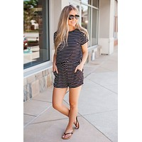 Let's Be Real Striped Romper (Black/White Stripe)