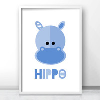 Animal Nursery Print, Kids Wall Art, Download Printable Nursery Wall Art, Kids Art Print, Hippo Art,  Blue Nursery Decor, Jungle Nursery Art
