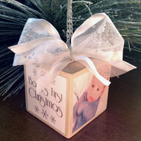 Personalized Baby Ornament-Baby's First Christmas with Baby Stats
