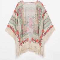 Floral Print Kimono Cardigan with Fringe