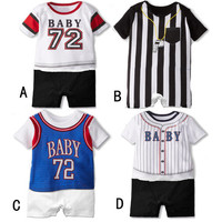 Summer Newborn Baby Boy Clothes Baby Girls Short Sleeve Sports Romper Infant Cotton Jersey Model Jumpsuit macacao infantil