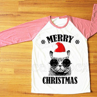 Red Hat Cat Glasses T-Shirt Merry Christmas Tee Shirt Cat Shirt Funny Shirt Pink Sleeve Tee Women Shirt Unisex Shirt Baseball T-Shirt S,M,L