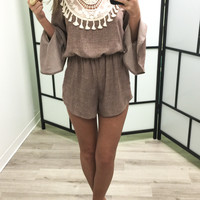 Boho Bliss Mauve Bell Sleeve Romper With Crochet Lace Bib & Keyhole Back
