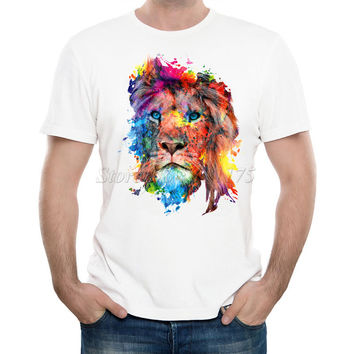 2017 Men's Fashion Painted Colorful lion Design T Shirt Cool Summer Tops Casual Tee