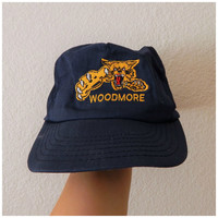 Vintage 80s Navy Yellow Embroidered Woodmore Tiger Mesh Snapback Trucker Hat