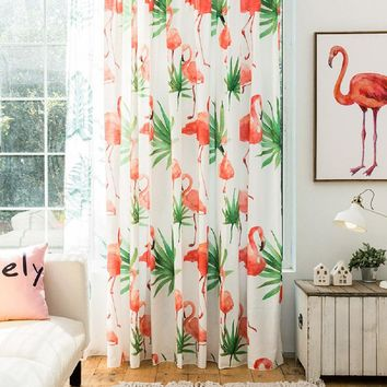 Drapes with Palm Leaf and Flamingo