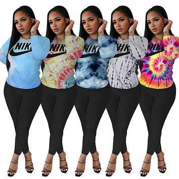 Nike new women's fashion tie-dye printing long-sleeved top + trousers two-piece suit