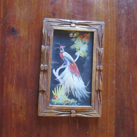 Mid Century Mexican Feathercraft Feather Art.  Bird of Paradise. Rustic Wood Frame.
