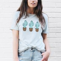 Tri Cacti Distressed T-Shirt