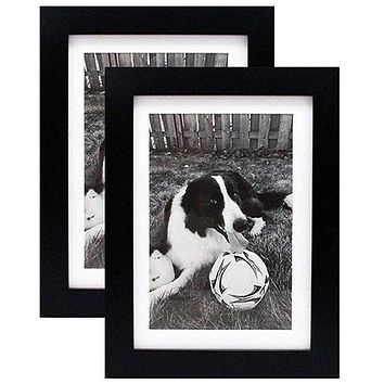 5x7 Black Gallery Picture Frame with Mat to 4x6 - Two Frames