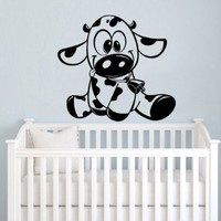 Baby Funny Cow Wall Vinyl Decals Sticker Home Interior Decor for Any Room Housewares Mural Design Graphic Bedroom Nursery Baby Kids Wall Decal (5433)