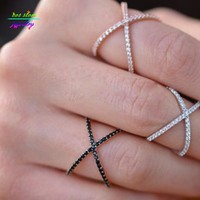 Ladies Trendy Criss Cross Cubic Zirconia Ring