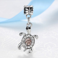 Silver Bead Tortoise Charm with Crystals Fit Pandora Bracelets & Bangles