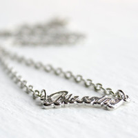 Silver Blessing Word Necklace - Simple Handmade Jewelry - Minimalist Gift Idea - Ready to Ship