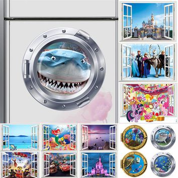 3d smiling big shark pony nemo dory submarine portholes windows wall stickers for washing machine decoration diy wall decals art
