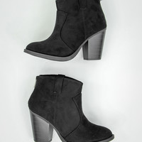 Elegant Faux Suede Booties in Black