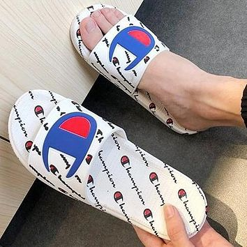 Champion Trending Women Men Stylish Couple Sandal Slipper Shoes White