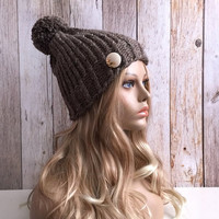 Chunky barley knitted women hat beanie, gift or for you