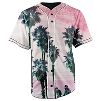 Pink & Palm Trees Button Up Baseball Jersey