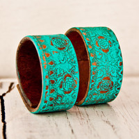 Turquoise Jewelry Leather Cuffs Bracelets Wristbands Southwest Hippie Bohemian Belt Cuff Mother's Day Gift