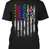 Autism Awareness Fighting American Flag