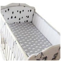 Crib Bumper 5pcs 3D Breathable Mesh Summer Cotton Baby Crib Bumpers Newborn Bedding Sets  Security fence Bedding Summer Bumper