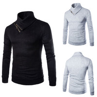 Long Sleeve Zip Detail Collar Knitted Sweater