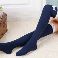 Lace Thigh High Stockings, Bowknot Stockings ,Leg Warmers,Womens Boot Socks,Knee High Socks,Over Knee Socks --Gray,Black,Navy,Brown,Beige,