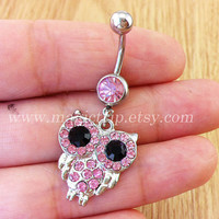 owl Belly Button Rings, pink owl Navel Jewlery, belly button ring, crystal owl belly ring, bestfriend belly button ring