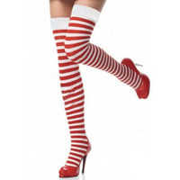 After the Rain Lingerie - Red/White Striped Christmas Stockings