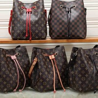 """Louis Vuitton""Classic Retro Fashion Multicolor Print Draw String Bucket Bag Women Small Bag"