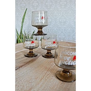 Vintage Pocono Love Potion  Glass Set
