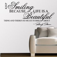 Marilyn Monroe Keep Smiling - WALL STICKER DECAL QUOTE ART MURAL Large Nice