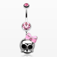 zzz-Adorable Skull Hair Bow Belly Ring