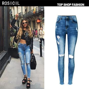 ROSICIL Hot Fashion Ladies Cotton Denim Pants Stretch Womens Bleach Ripped Hole Knee Skinny Jeans Denim Jeans For Female TPS6628